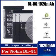 1020mAh BL-5C BL5C BL 5C bateria litowa litowo-jonowa dla Nokia 1112 1208 1600 2610 2600 n70 n71 telefon komórkowy wymiana komórek