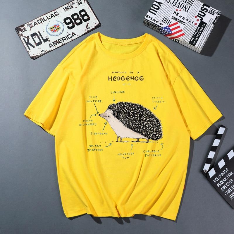 Summer Animal Hedgehog Analysis Print Women T shirt Creative Fashion Pattern Female Short Sleeve Cotton Clothes 3