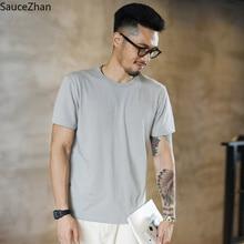 SauceZhan Camiseta de algodón de tres agujas con refuerzo para hombre, camisetas lisas de cuello redondo, suaves y gruesas, no deformadas