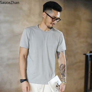 Image 1 - SauceZhan Three needle Reinforcement Mens Summer Cotton T shirt O Neck Solid T shirts for Man Thick Soft  Not Deformed