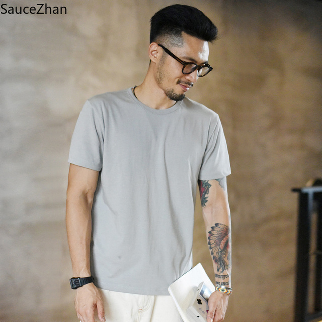 SauceZhan Three needle Reinforcement Mens Summer Cotton T shirt O Neck Solid T shirts for Man Thick Soft  Not Deformed