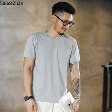 SauceZhan üç iğne takviye erkek yaz pamuklu tişört o boyun katı T shirt adam için kalın yumuşak deforme olmayan