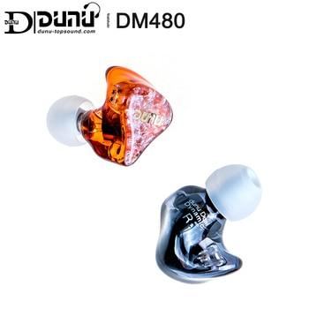 Dunu dm480 titânio duplo driver dinâmico fone de ouvido com 2 pinos/0.78mm destacável cabo 3d impresso escudo DM-480