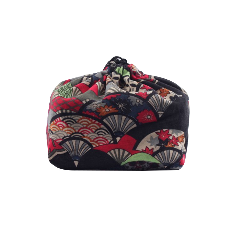 Cloth Thermal Insulated Portable Lunch Bag Drawstring Bento Pouch Travel Office Food Storage Picnic School Cooler Japanese Style