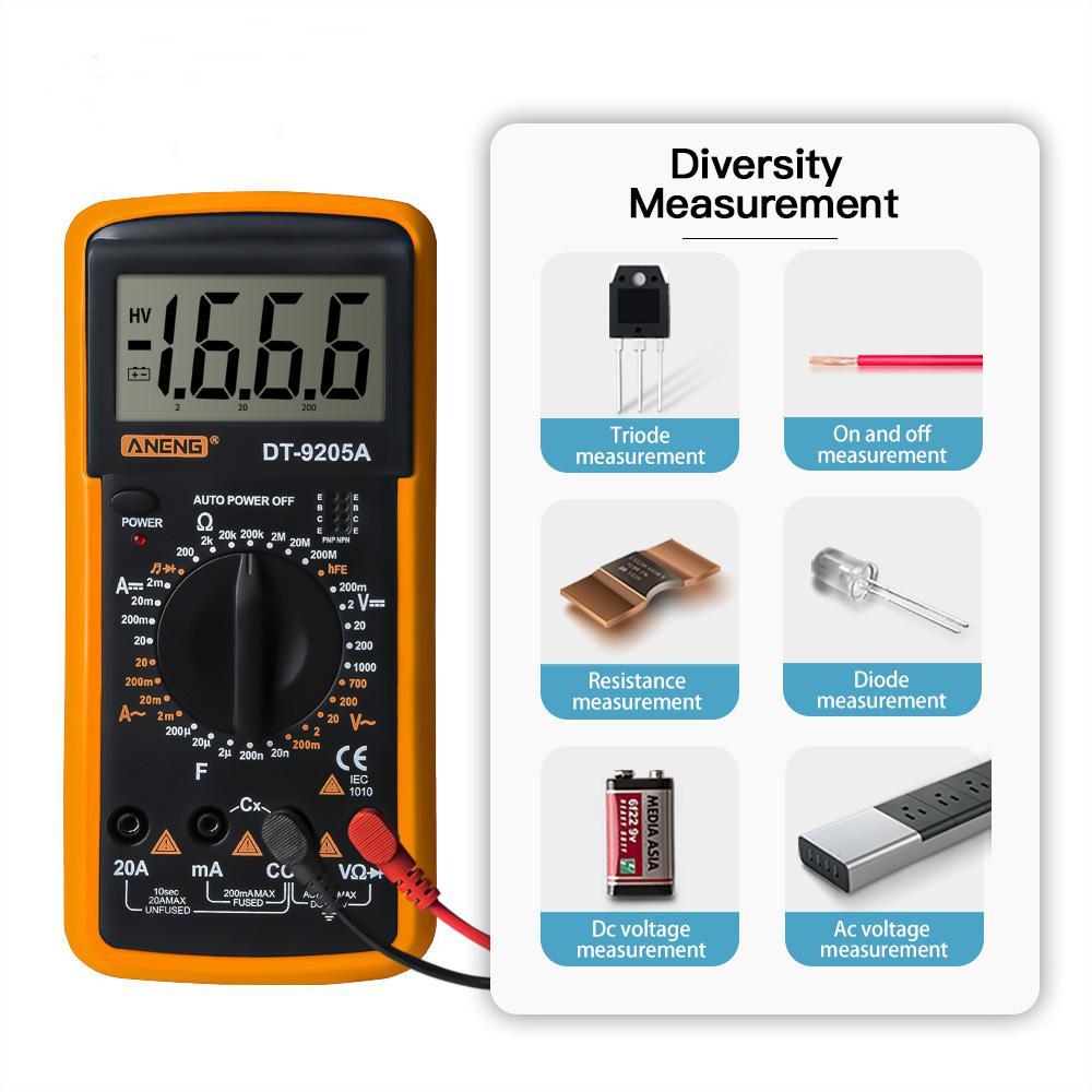 Купить с кэшбэком DishyKooker Digital DT-9205A Multimeter LCD AC/DC Ammeter Resistance Capacitance Tester