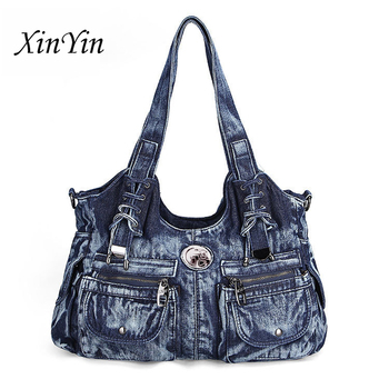 Leisure luxury large handbags women bags designer ladies big purses jeans bag tote denim shoulder crossbody travel high quality