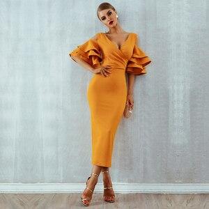 Image 1 - Женское платье с рукавом бабочкой, элегантное платье средней длины с открытыми плечами и V образным вырезом, лето 2020