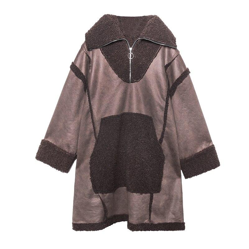 Женский Длинный пуловер из искусственного меха больших размеров, верхняя одежда, женская уличная куртка из овечьей шерсти с замшевой тканью, Толстая куртка с капюшоном в стиле панк - 5