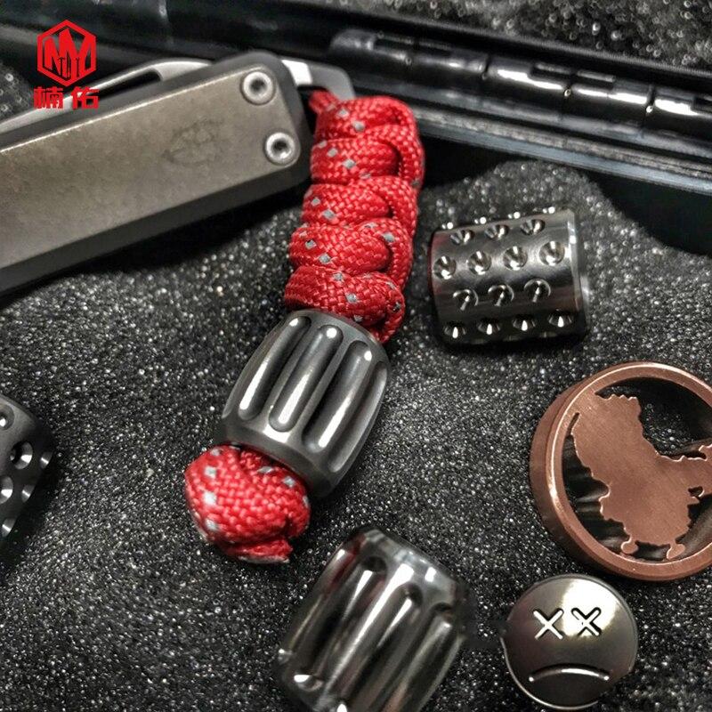 1PC Titanium Copper Paracord Beads Knife Beads Rope Cord Bracelet Flashlight EDC Beads Lanyard Pendants Outdoor Accessories