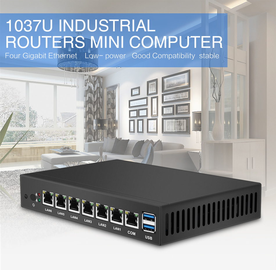 HLY Mini PC with 6x Gigabit Ethernet LAN and Intel Celeron 1037U Processor Industrial Monitors 6