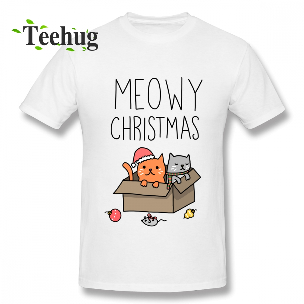 Latest Meowy Christmas Cat T shirt Holiday Pun T-shirt Boy New Arrival Top Design For Man Graphic Homme Tee Shirt