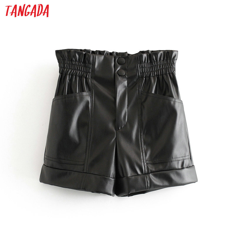 Women Elegant Black Faux Leather Shorts Stretch Waist Pockets Female Retro Basic Casual Shorts Pantalones 6A126