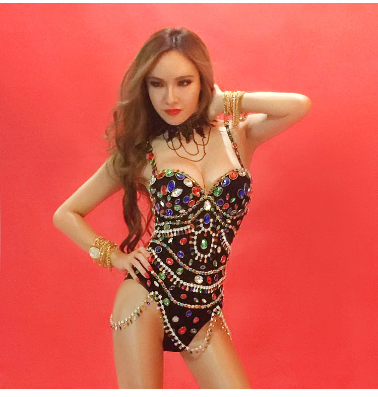 New Sparkly Colorful Rhinestones Shining Bodysuit Women's Birthday Celebrate Outfit DJ Singer Show Dance Stretch Dancer Costume
