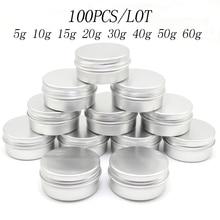 100PCS 5g 10g 15g 20g 30g 40g 50g 60g Aluminum Tin Jars Metal 50ml Empty Cosmetic Face Care Eye Cream Lip Balm Gloss Packaging