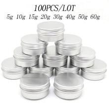 100 sztuk 5g 10g 15g 20g 30g 40g 50g 60g aluminium cyny słoiki metalowe 50ml pusty kosmetyczne twarzy bezpieczne dla oczu krem błyszczyk...
