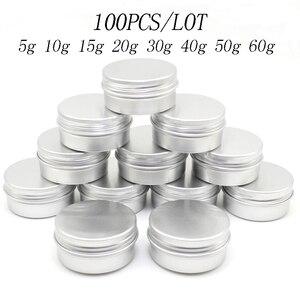 Image 1 - 100PCS 5g 10g 15g 20g 30g 40g 50g 60g Lattina di Alluminio vasi In Metallo 50ml Vuoto Cosmetici Viso Crema Cura Degli Occhi Balsamo per le labbra Gloss Packaging