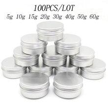 Botes de lata de aluminio, 100 Uds., 5g, 10g, 15g, 20g, 30g, 40g, 50g, 60g, Metal, 50ml, vacío, cosmético de cuidado facial, bálsamo labial, embalaje brillante