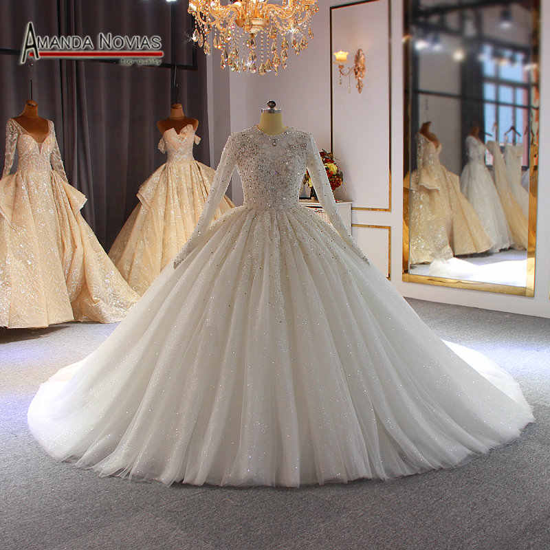 2020 Muslim wedding dress luxury full beading full cover wedding gown bridal dress for muslim