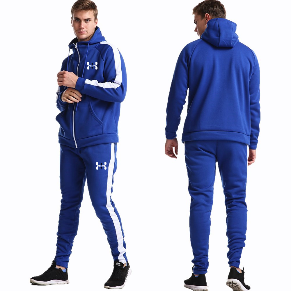 Brand Men Long Sleeve Hoodies Sweatshirt+Pants Set Male Tracksuit Sport Suit Men's Gyms Set Casual Sportswear Zipper Suit