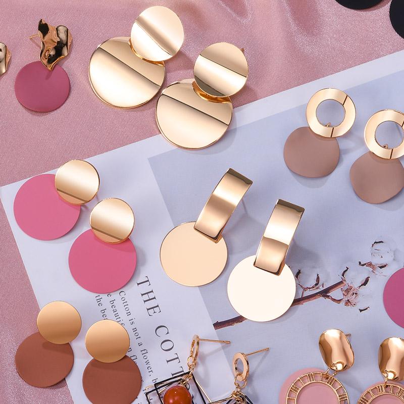 POXAM New Korean Statement Round Earrings For Women Geometric Gold Shell Fluff Dangle Drop Earrings Brincos 2020 Fashion Jewelry