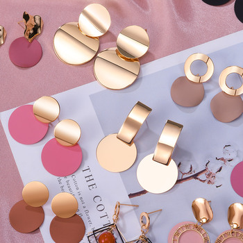 POXAM New Korean Statement Round Earrings For Women Geometric Gold Shell Fluff Dangle Drop Earrings Brincos 2020 Fashion Jewelry fashion sweet shell round dangle earrings