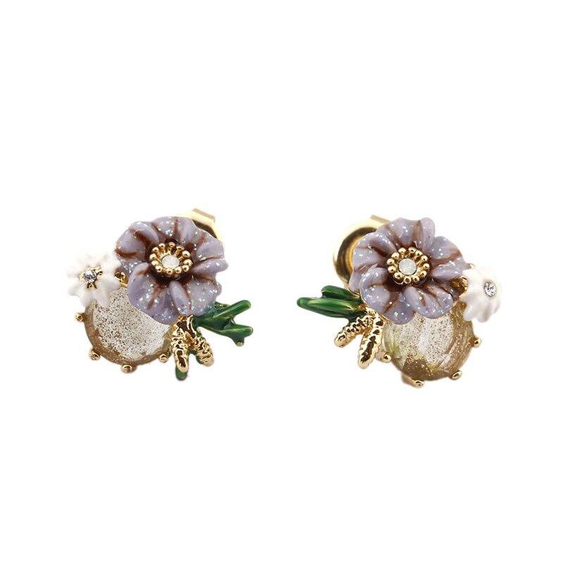Bijoux en émail peints à la main violet blanc petite fleur boucles d'oreilles délicat or cristal pierre boucle d'oreille S925 argent Post boucles d'oreilles