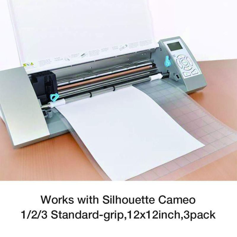 3Pcs Replacement Mats For Silhouette Cutting Plotter 12x12 Inch Adhesive Clear Mat With Measuring Grid