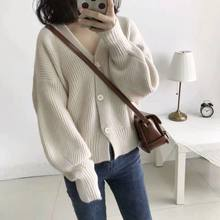 Autumn Fashion Loose Cardigan Women Basic Knitted Cardigans Casual Long Sleeve Solid Knitted Sweater Coat Female Jacket Overcoat(China)