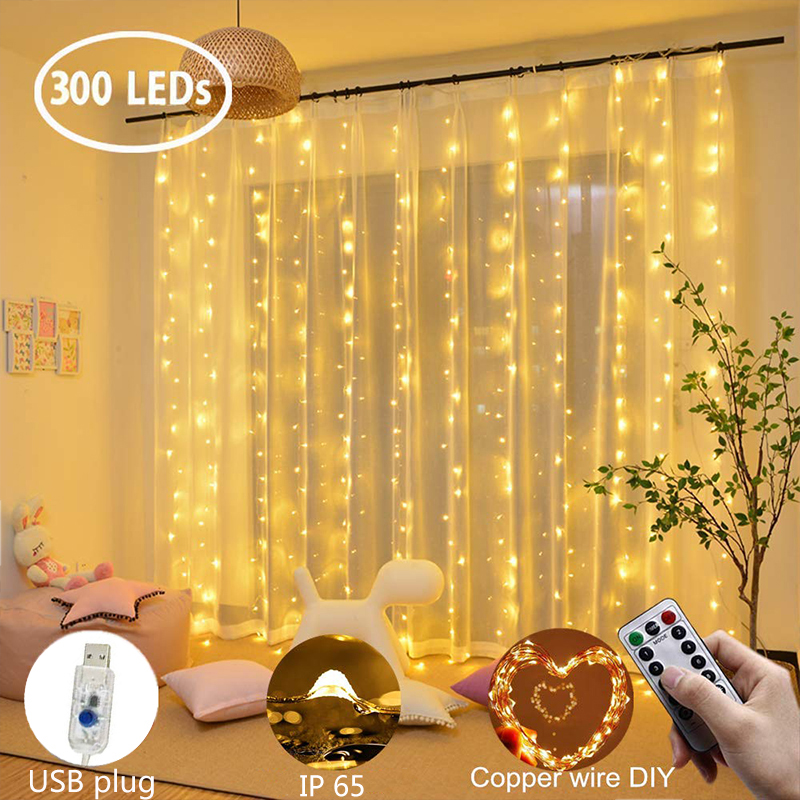 Led Curtain Lamp Garland 3X1m/ 3X2m/ 3X3m Copper Wire Curtain Light Remote Control Usb Plug For Garland Bedroom Decorations
