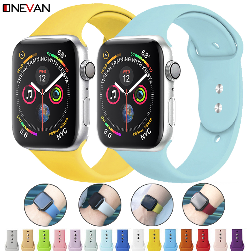 Colorful Soft Silicone Sports Band For Apple Watch Series 5 4 3 2 1 38MM 42MM Rubber Watchband Strap For IWatch 5 4 40MM 44MM