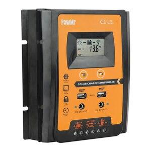 Image 4 - PWM солнечный контроллер заряда 30A 50A 70A MPPT 12 В 24 в двойной USB Солнечный регулятор с большим ЖК дисплеем IP32 PV Контроллер батареи таймер загрузки