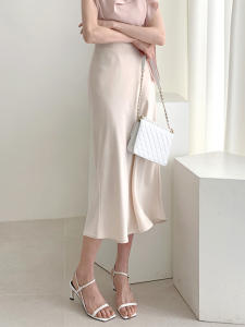 Midi Skirts A-Line Silk Elegant High-Waist Women Summer Casual Slim