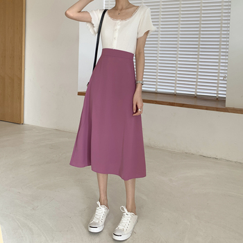 Women elegant OL purple Skirt Ladies A-Line Fashion Party Office Skirts Solid Skirts skirts long female ka869 monnet cauthy female bag concise elegant fashion style office ladies handbag solid color purple blue black red composite totes