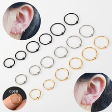 Brincos de argola preta, 6 peças/1 lote, esfera de aço inoxidável, círculo, cápsula, nariz, septo, hélix piercing de cartilagem