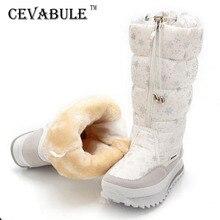 CEVABULE Botas de nieve cálidas de felpa para mujer, Botas de media caña, impermeables, con cremallera, JSH M0767