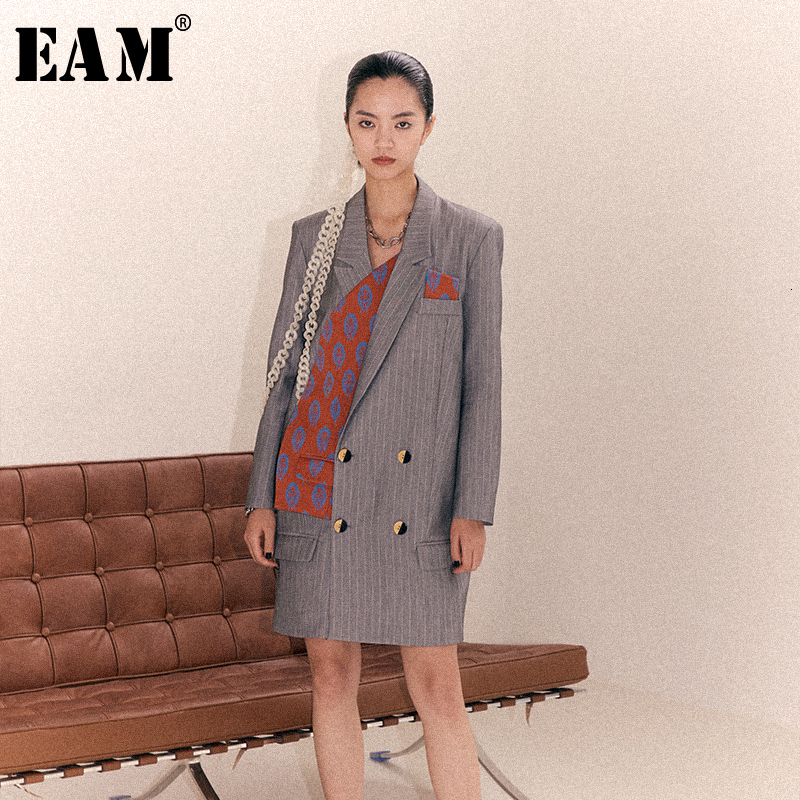 [EAM] Loose Fit Gray Pattern Print Split Joint Long Jacket New Lapel Long Sleeve Women Coat Fashion Spring Autumn 2020 1B902