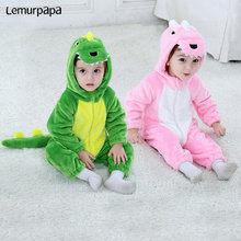 Kawaii תינוק Romper דינוזאור קריקטורה בעלי החיים תלבושות פעוטות תאומים ילד ילדה חורף בגדי פלנל רך סרבל חמוד Kigurumis