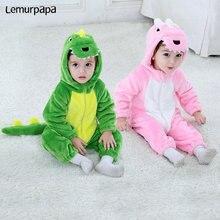 かわいいベビーロンパース恐竜漫画の動物の衣装幼児双子少年少女の冬服フランネルソフトスーツかわいいkigurumis