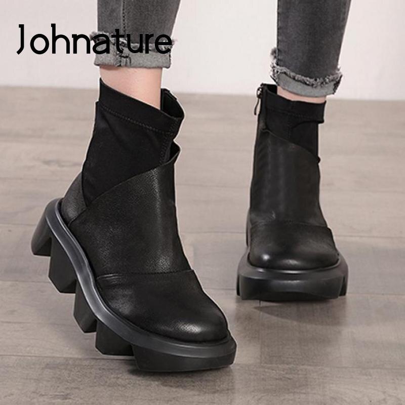 Женские ботинки из натуральной кожи Johnature, повседневные ботинки ручной работы на молнии с круглым носком, на платформе, Осень зима 2020|Полусапожки|   | АлиЭкспресс
