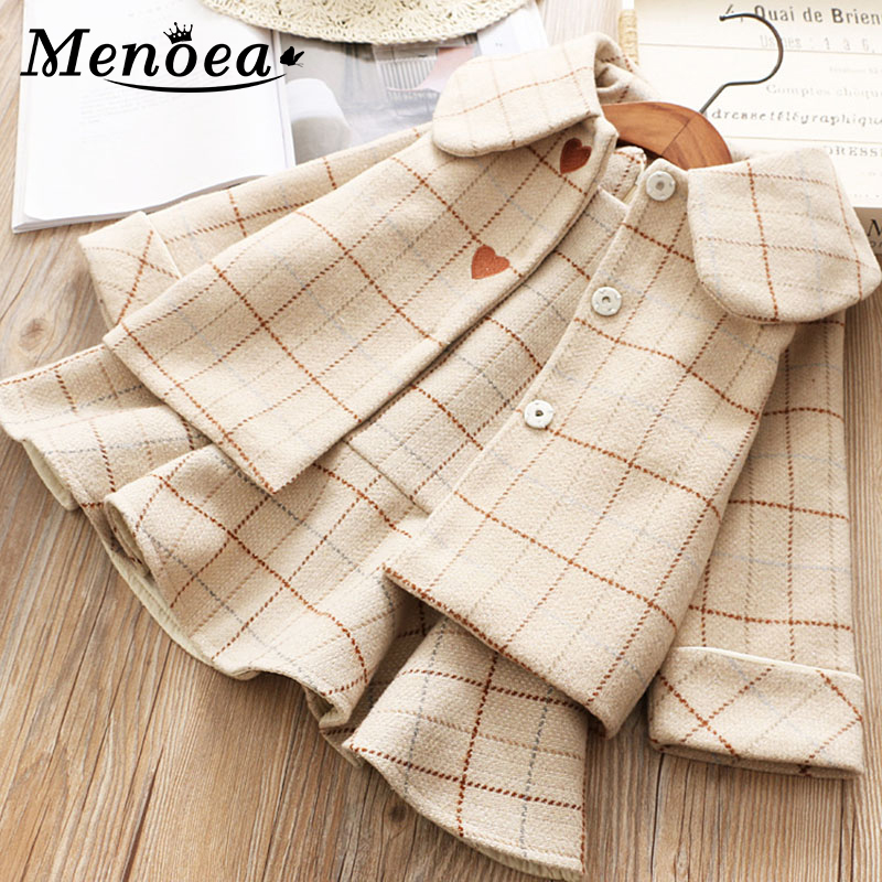 Menoea Children Suits Korean Version Small Fragrance Girl Plaid Doll Collar Jacket + Love Vest Skirt 2Pcs Clothes Suit