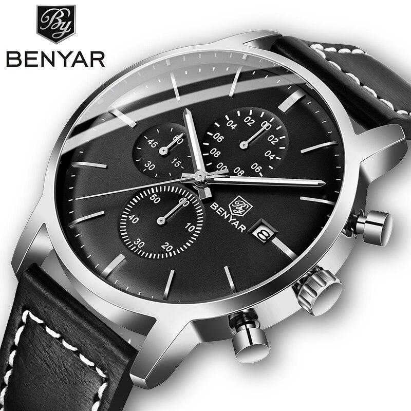 2019 New BENYAR Men's Watches Casual Fashion Chronograph/30M Waterproof/Sport Watches Men Leather Wristwatch Mens Reloj Hombre