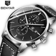 2019 Nieuwe Benyar Heren Horloges Casual Mode Chronograaf/30M Waterdicht/Sport Horloges Mannen Lederen Horloge Mens reloj Hombre
