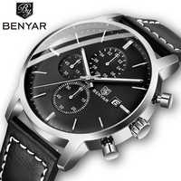 2019 nuevos relojes BENYAR para hombres, cronógrafo de moda Casual, 30M a prueba de agua, relojes deportivos, Reloj de pulsera de cuero para hombres, Reloj para Hombre