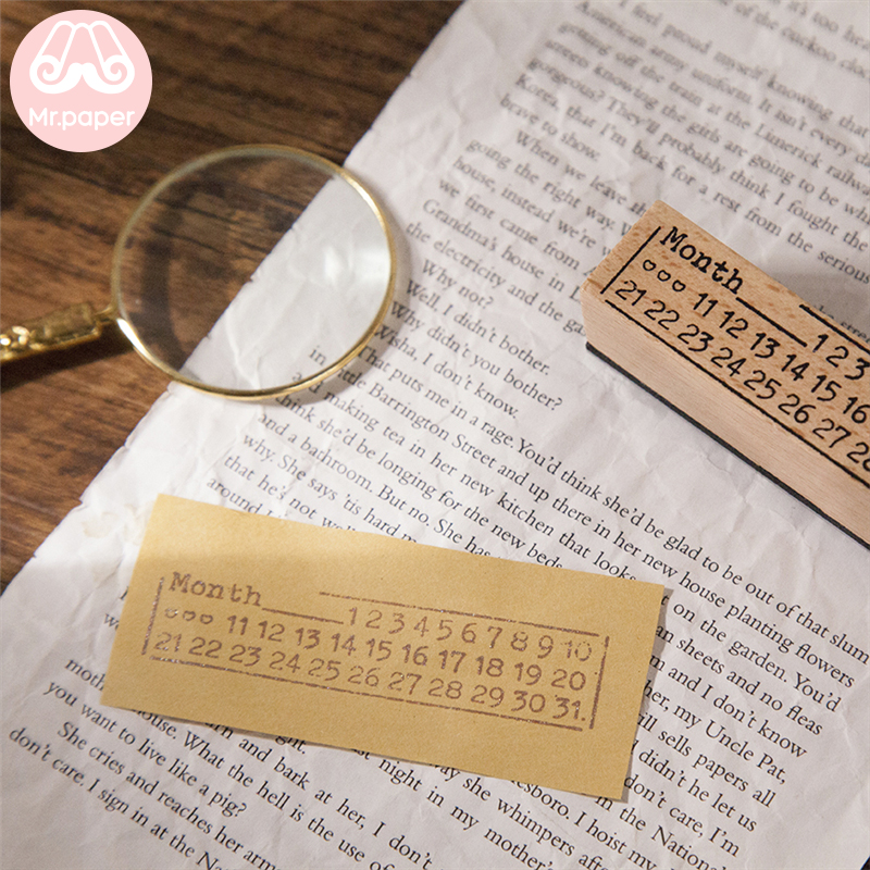 Mr Paper 12 Designs Planet Moon Flowers Number Piano Wooden Rubber Stamp for Scrapbooking DecoDIY Craft Standard Wooden Stamps 4