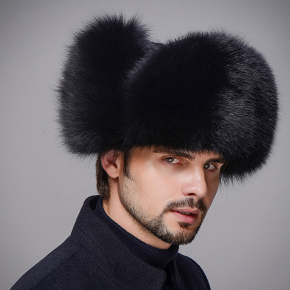 Winter Unisex Genuine Fox Fur Hat Real Raccoon Fur Bomber Hat With Nature Leather Crown Thick Warm Fur Cap Russian Fur Hat