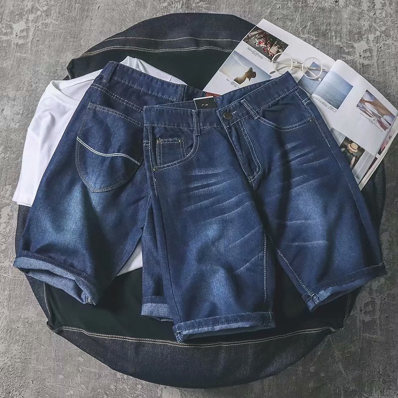 2019 Summer Men's Business Elasticity Shorts Thin Denim Shorts Men's Straight-Cut Casual Shorts Young And Middle-aged Wide
