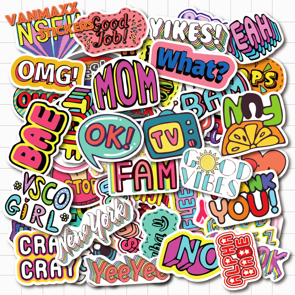 VANMAXX <font><b>50</b></font> PCS English Words Cartoon <font><b>Stickers</b></font> Waterproof PVC Decal for Laptop Helmet Bicycle Guitar Phone Case Water Bottle Car image
