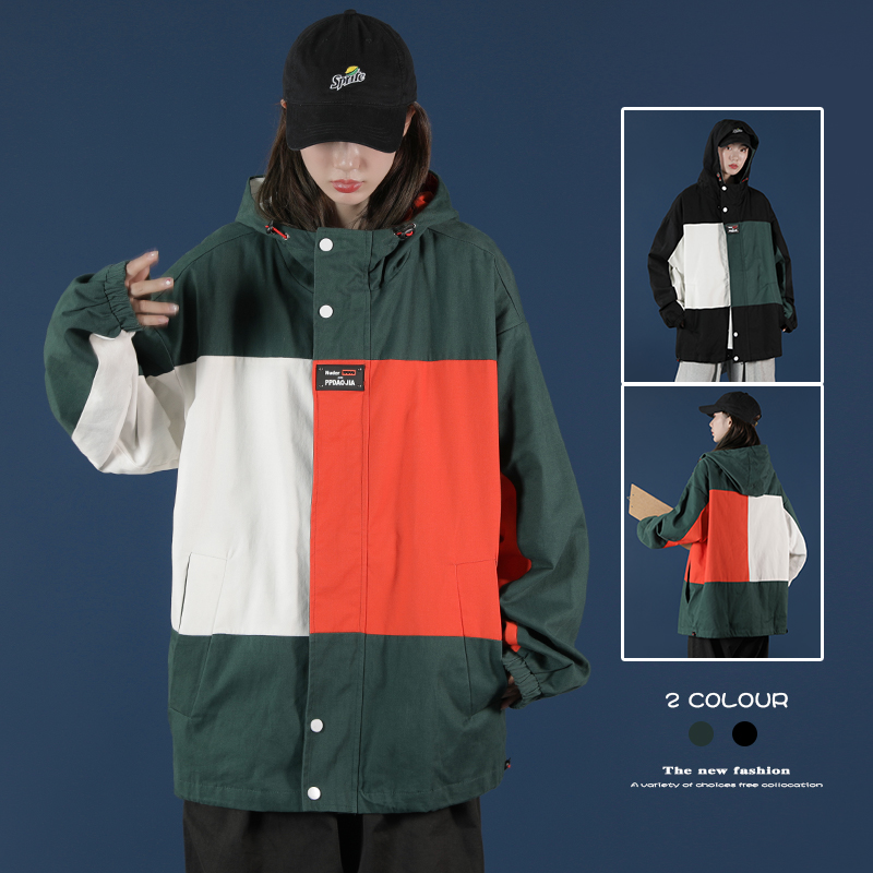 Designer Patchwork Hooded Jacket for Men 2020 Autumn Fashion Clothing Plus Size Hiking Outerwear Harajuku Streetwear Windbreaker 5