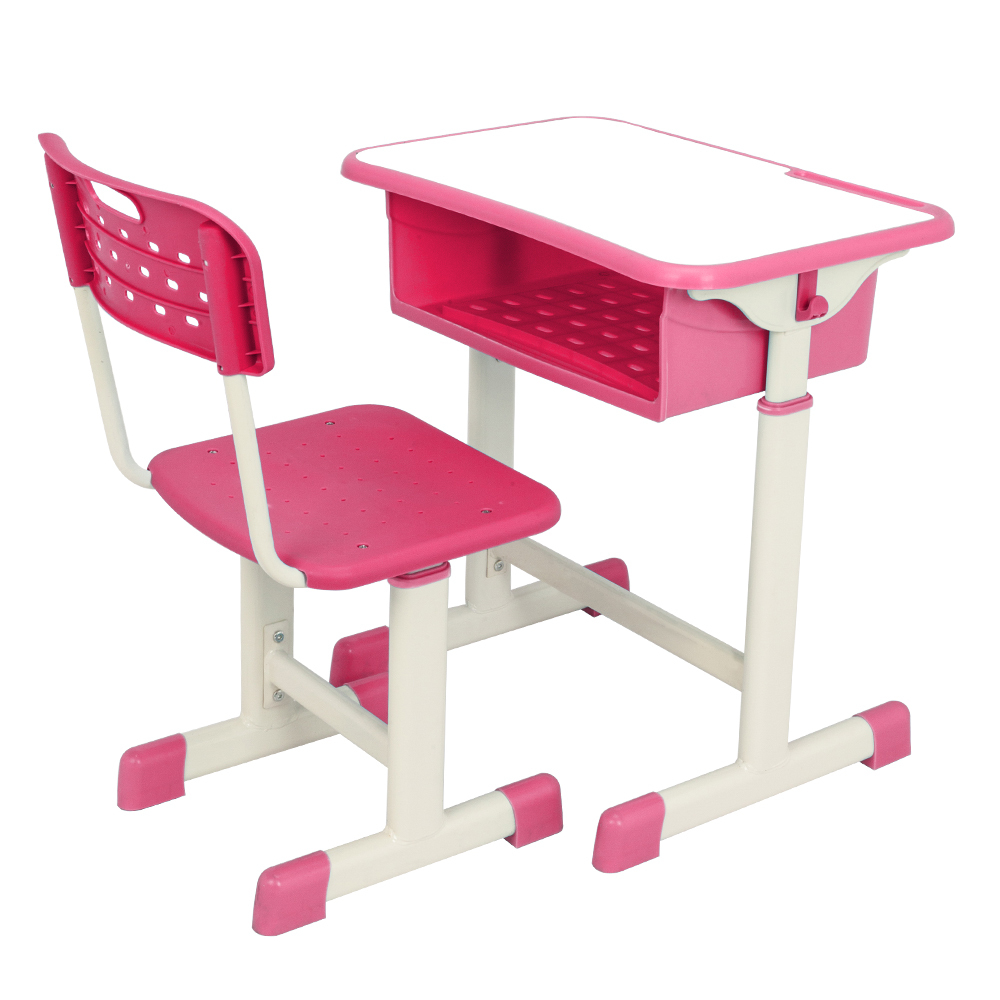 Height Adjustable Student Desk Chair Kit With Hanging Hooks Pencil Groove For The Children Study
