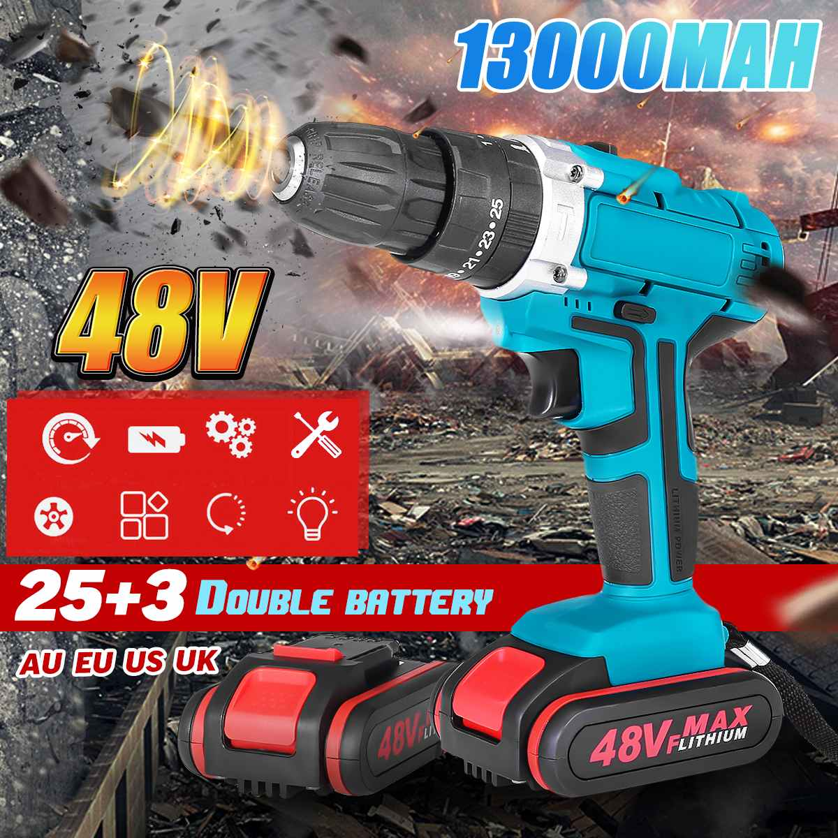 25+3 Torque Drilling Tool 48V 2 Speed Power-Drills Screwdriver Rechargeable Cordless Electric Drill 13000mAh With 2 Li-ion Batte